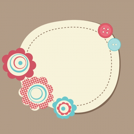 Vintage frame on polka dot background photo