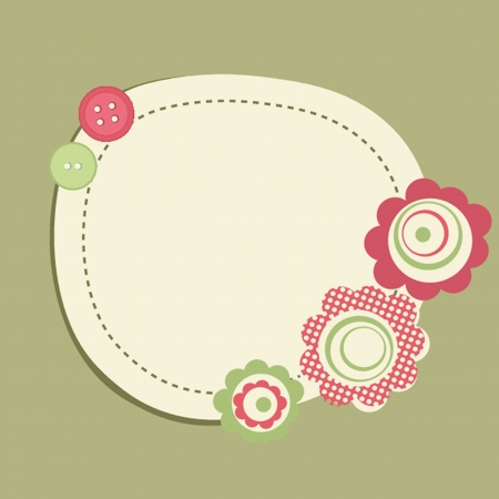 Vintage frame on polka dot background Vector