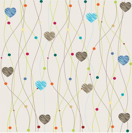 Cute vector background with vintage hearts photo