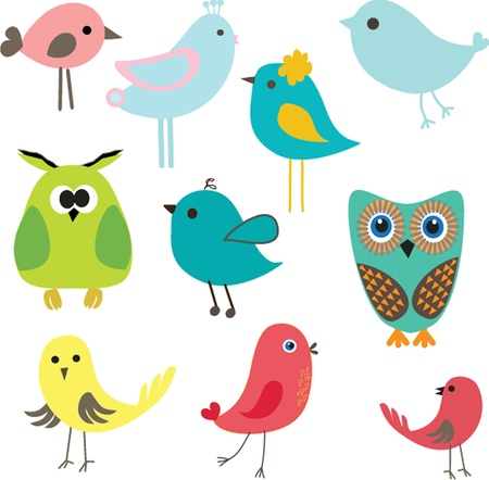 Cute birds set  Vintage vector illustration