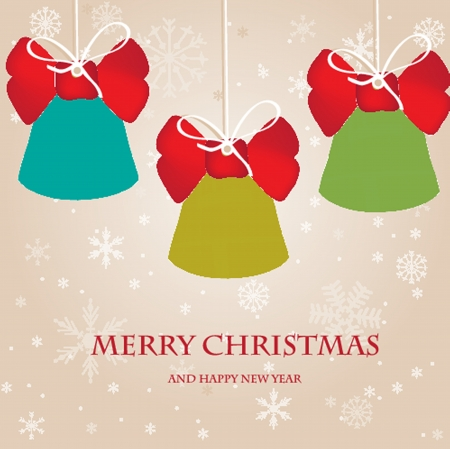 Holiday bells on snowflakes background