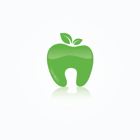whites: Ecological symbol of human tooth as a green apple with leaf