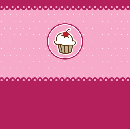 Cute vector  bakery background with small cupcake Vector