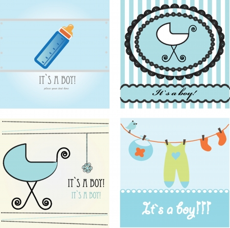 Set baby boy announcement card illustration Vector