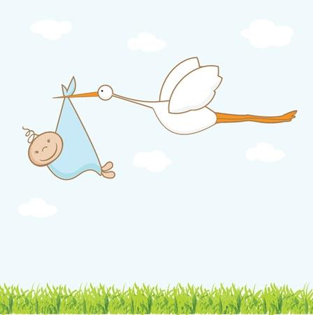 cigogne: Carte d'arrivée de bébé avec la cigogne qui apporte un garçon mignon Illustration