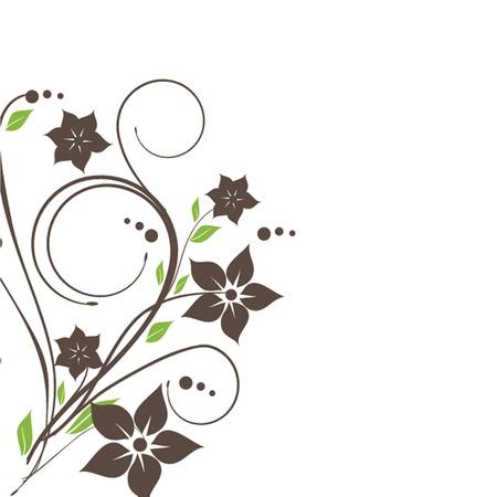 Cartão do vintage com as flores desenhadas mão