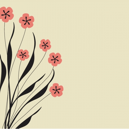 Vintage greeting card with hand drawn flowers Vector