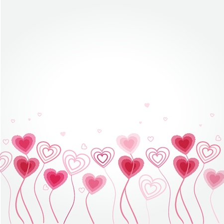 Greetings card with floral hearts Illustration