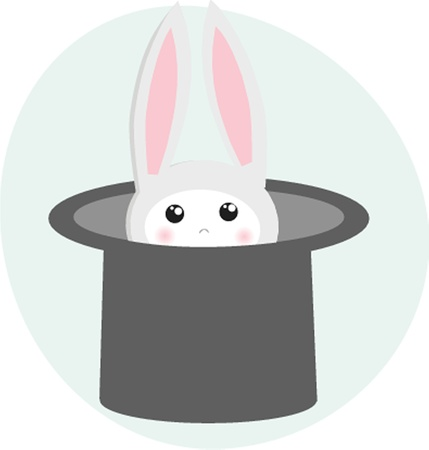 conjuring: icon rabbit and magician hat
