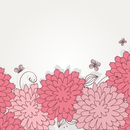 Floral card with beauty butterflies Vector