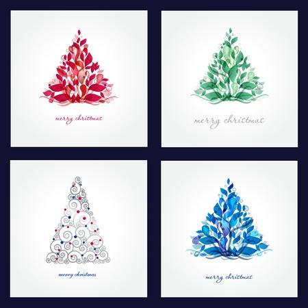 christmas illuminations: Set Christmas background with Christmas tree, vector illustration. Illustration