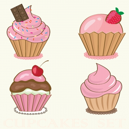 Set Cute vector background with small cupcake