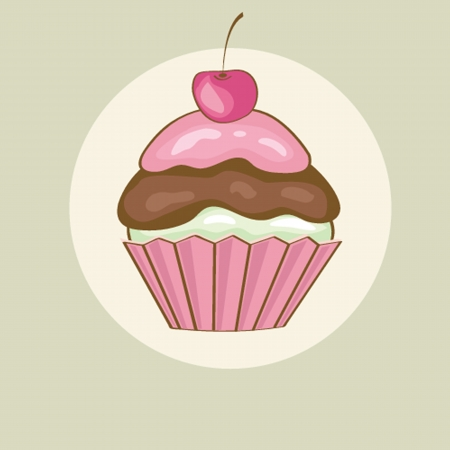 Birthday card with cherry cupcake. Vector