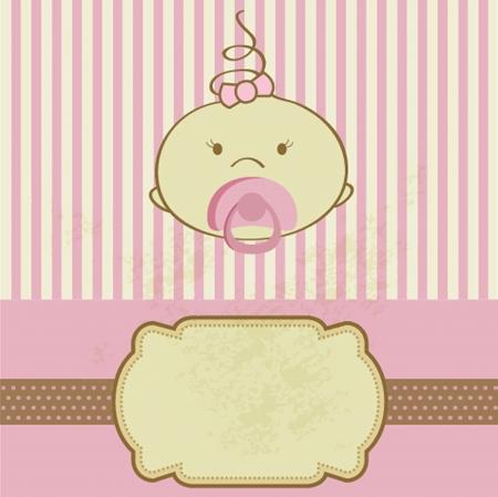 ビンテージの赤ちゃん女の子到着アナウンス生まれカード。