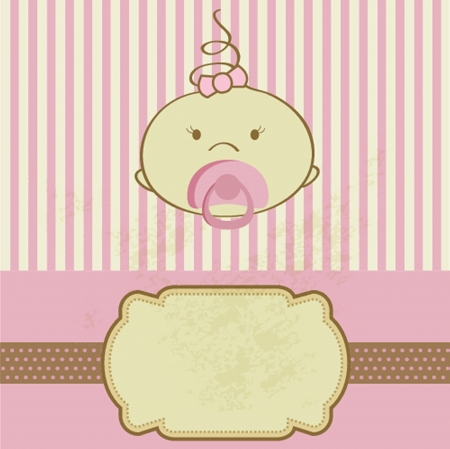 Vintage baby girl arrival announcement born card. Vector