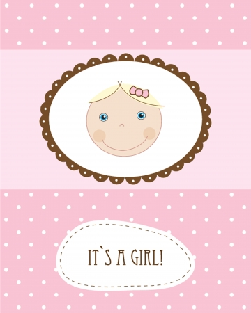 Vintage baby girl arrival announcement born card. Vector