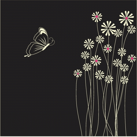 Floral card with beauty butterflies