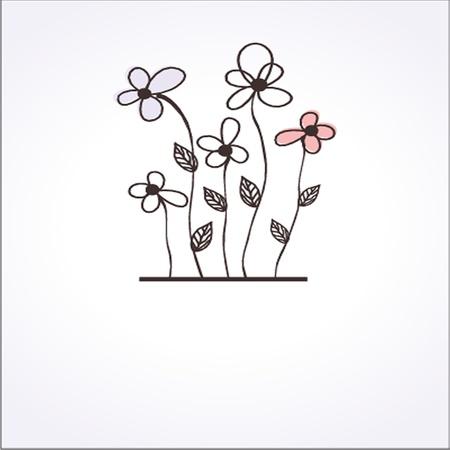ビンテージ グリーティング カードと手描きの花  イラスト・ベクター素材
