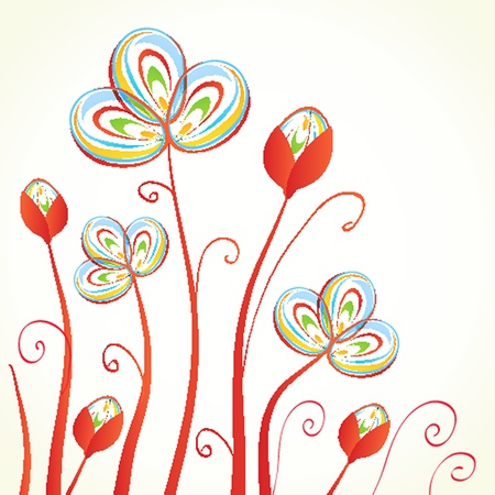 abstract flowers: Vintage greeting card with hand drawn flowers Illustration