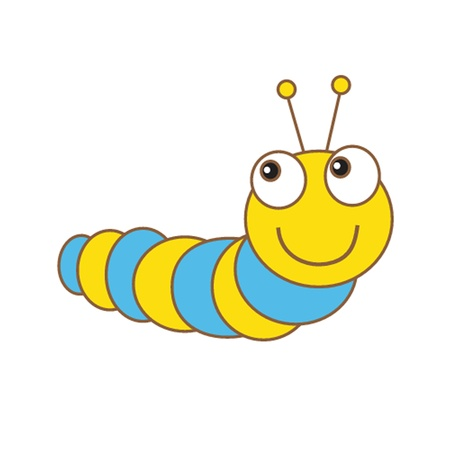 children caterpillar: Cute spring card with caterpillar and butterfly. Illustration