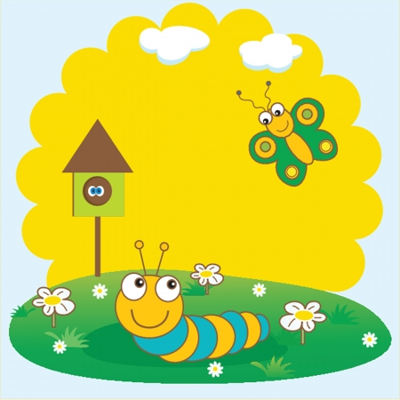 Cute spring card with caterpillar and butterfly. Vector