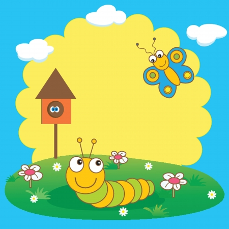grub: Cute spring card with caterpillar and butterfly. Illustration
