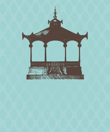 pavilion: Vintage card with old pavilion.