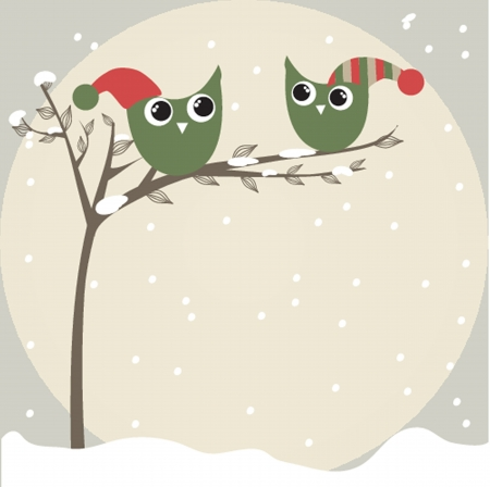 simple card illustration of two funny cartoon owls with christmas hats on a branch Vector