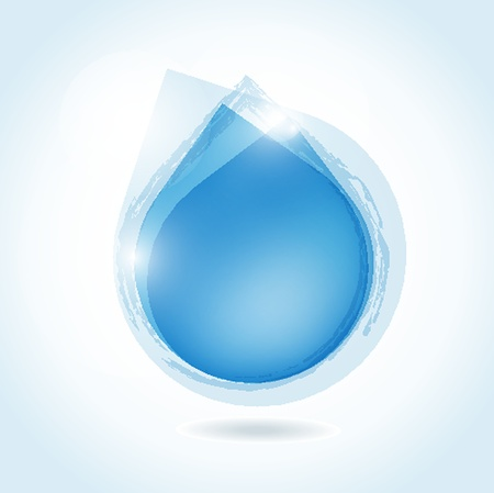 drops of water: Stylish digital water design. Blue banner with water drops Illustration