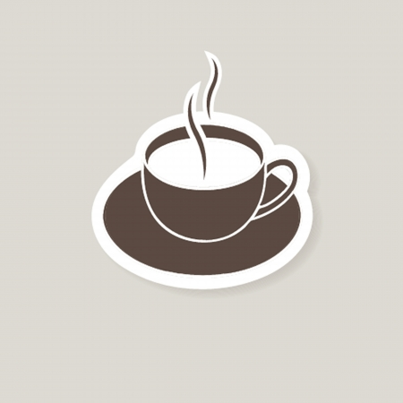 stilllife: warm cup of coffee on brown background Illustration