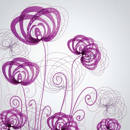 green lines: Abstract violet flowers Illustration