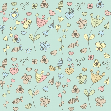 Abstract floral background with hearts and flowers Stock Vector - 21025276