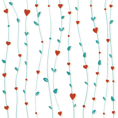 Abstract floral background with hearts and flowers Stock Vector - 21025277