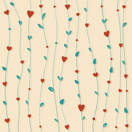 Abstract floral background with hearts and flowers Stock Vector - 21025278