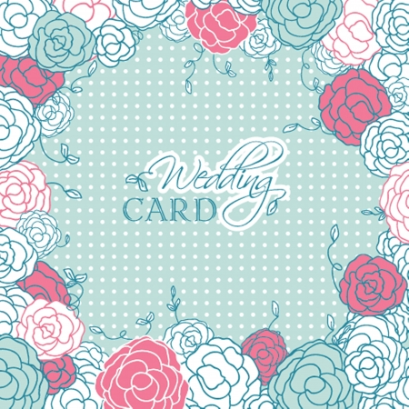 Wedding card with beautiful rose flowers on blue polka dot background Vector