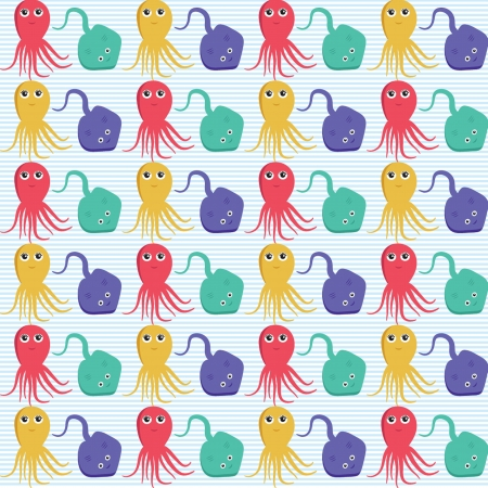 Seamless pattern with octopus and ramp. Easy editable. Vector version Vector