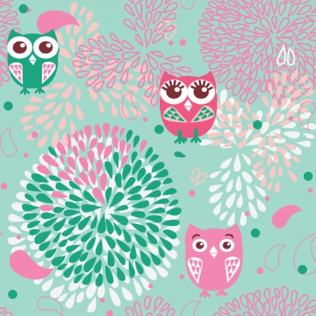 Owls and flowers seamless pattern Vector