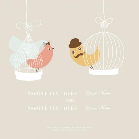 Invitación de la boda o de la tarjeta nupcial de la ducha con dos pájaros lindos en las jaulas.