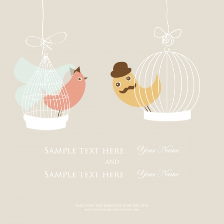 Wedding invitation or bridal shower card with two cute birds in the cages. Vector