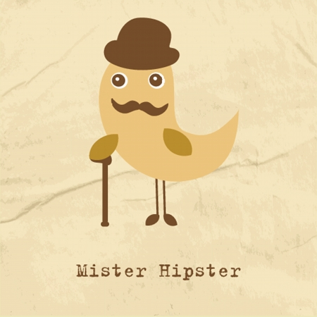 subculture: Cute hipster bird illustration