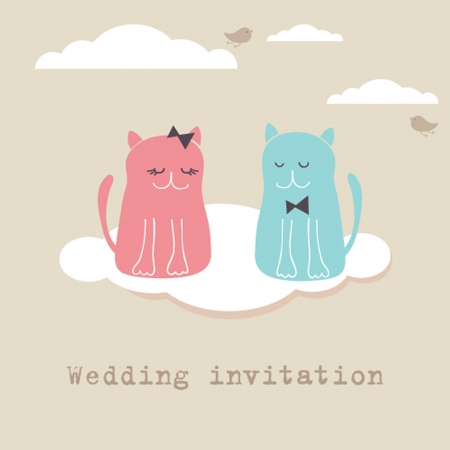 Bridal shower invitation card with two cute cats sitting on the present boxes Vector