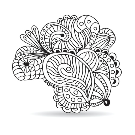 Black and white hand drawn ornament. Vector