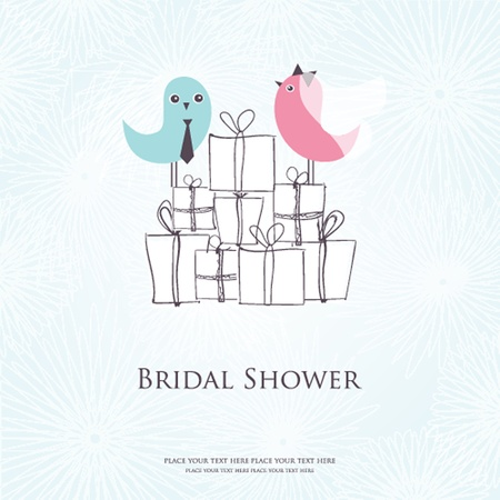 birthday wishes: Bridal shower invitation with two cute birds in bride and groom costumes sitting on the present boxes Illustration