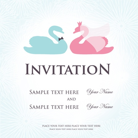 Wedding invitation with two cute swan birds in bride and groom costumes Vector