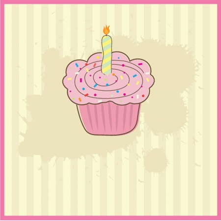 sour cream: Cute vector background with small cupcake