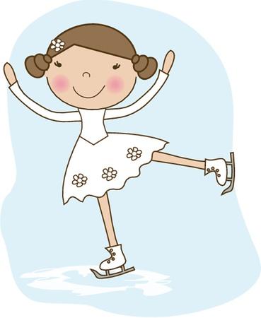 Little skater, girl skating on ice Vector