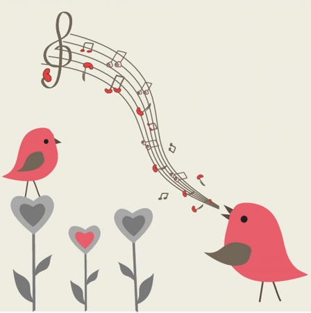 cute floral spring birds illustration Vector