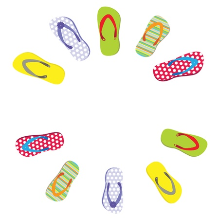 beautiful beach slippers isolated Vector