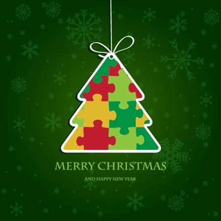 evergreen tree: Christmas tree from jigsaw puzzle