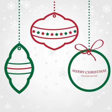 Christmas set of fir tree and evening balls, new years  clock and festive bells Vector